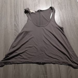 Grey flaired Jersey Tank with back Zipper detail
